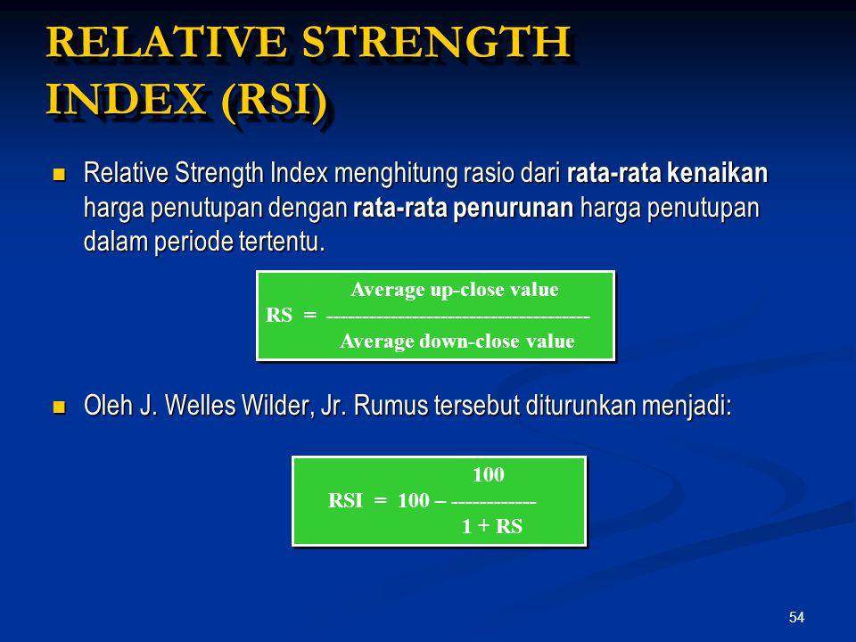 54 Relative Strength Index menghitung rasio dari rata-rata kenaikan harga penutupan dengan rata-rata penurunan harga penutupan dalam periode tertentu.
