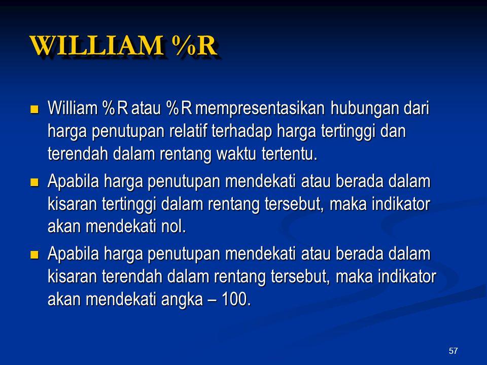 57 William %R atau %R mempresentasikan hubungan dari harga penutupan relatif terhadap harga tertinggi dan terendah dalam rentang waktu tertentu. Willi