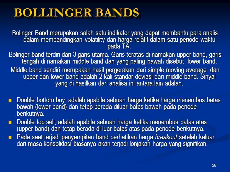 58 BOLLINGER BANDS Bolinger Band merupakan salah satu indikator yang dapat membantu para analis dalam membandingkan volatility dan harga relatif dalam