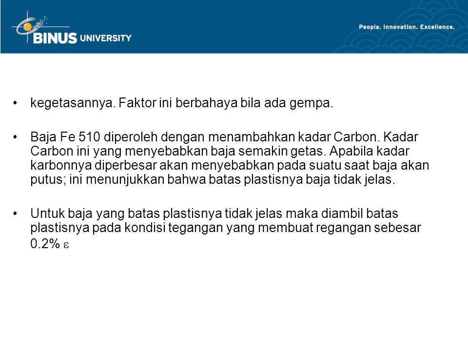 kegetasannya. Faktor ini berbahaya bila ada gempa. Baja Fe 510 diperoleh dengan menambahkan kadar Carbon. Kadar Carbon ini yang menyebabkan baja semak