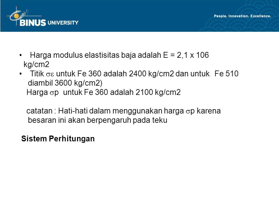 Harga modulus elastisitas baja adalah E = 2,1 x 106 kg/cm2 Titik  untuk Fe 360 adalah 2400 kg/cm2 dan untuk Fe 510 diambil 3600 kg/cm2) Harga  p un