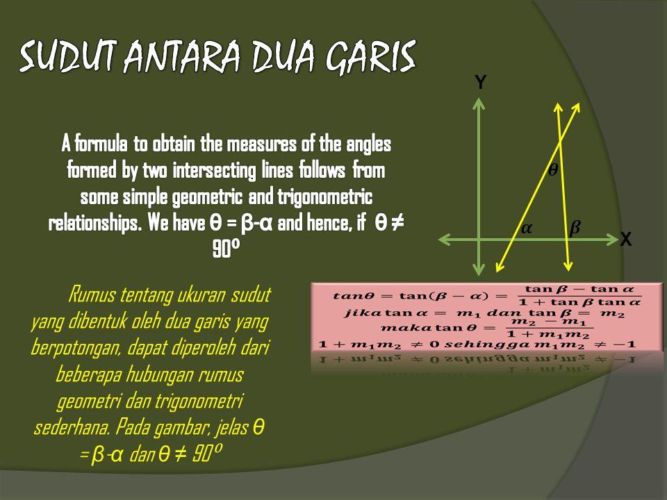 Y X Rumus tentang ukuran sudut yang dibentuk oleh dua garis yang berpotongan, dapat diperoleh dari beberapa hubungan rumus geometri dan trigonometri sederhana.