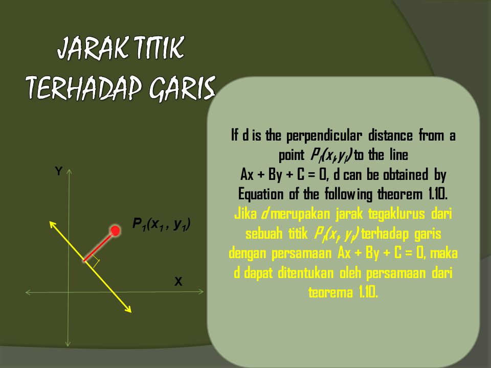 If d is the perpendicular distance from a point P 1 (x 1,y 1 ) to the line Ax + By + C = 0, d can be obtained by Equation of the following theorem 1.1