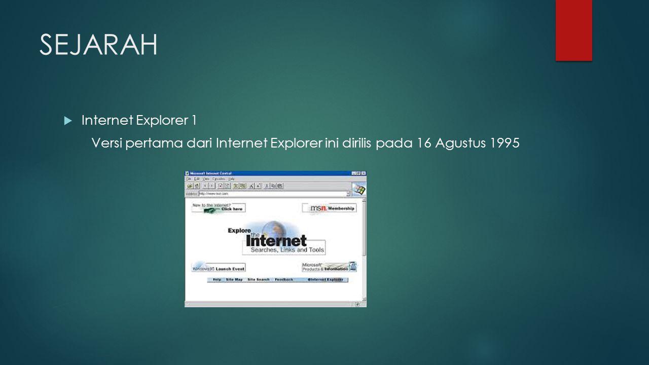 SEJARAH  Internet Explorer 1 Versi pertama dari Internet Explorer ini dirilis pada 16 Agustus 1995