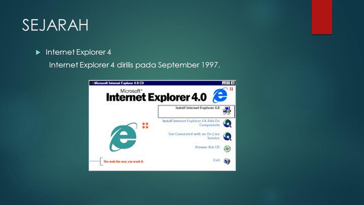 SEJARAH  Internet Explorer 4 Internet Explorer 4 dirilis pada September 1997.