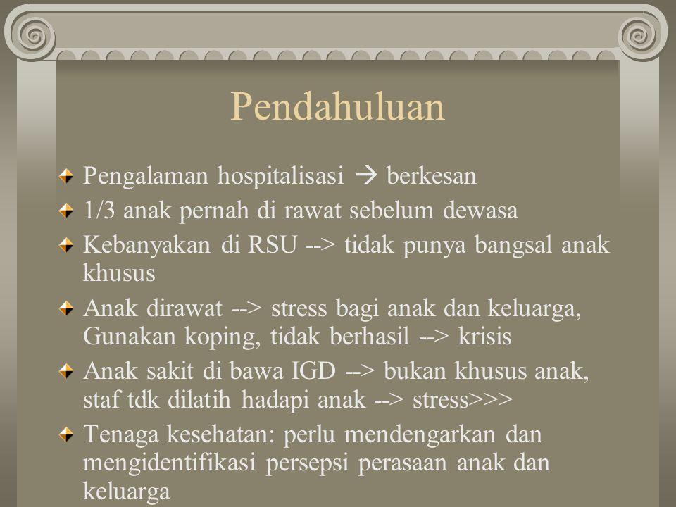Pendahuluan Pengalaman hospitalisasi  berkesan 1/3 anak pernah di rawat sebelum dewasa Kebanyakan di RSU --> tidak punya bangsal anak khusus Anak dir