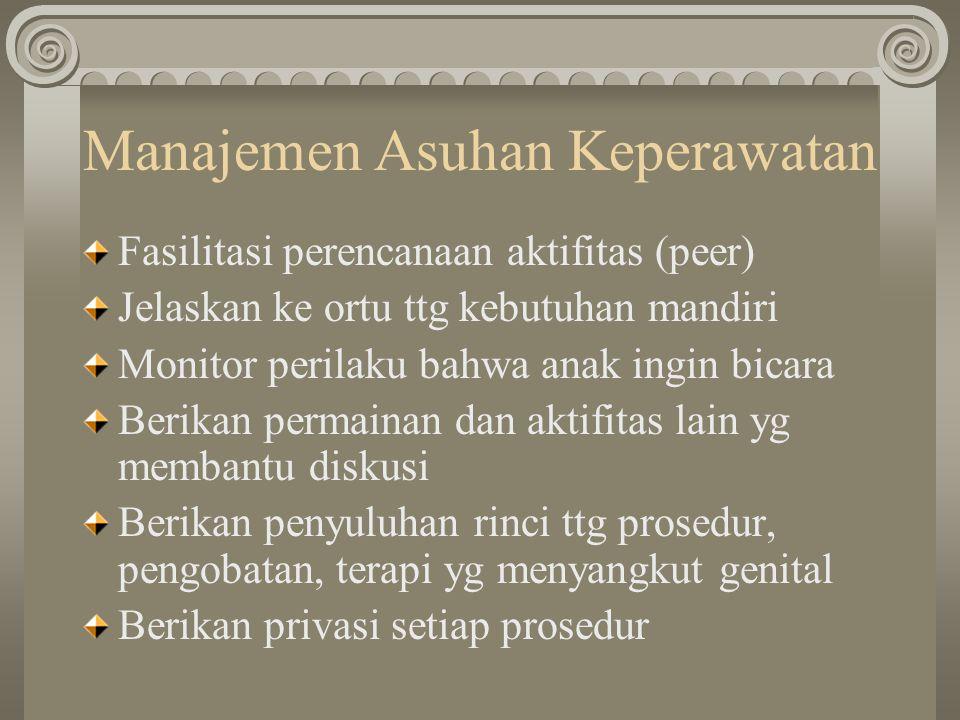 Manajemen Asuhan Keperawatan Fasilitasi perencanaan aktifitas (peer) Jelaskan ke ortu ttg kebutuhan mandiri Monitor perilaku bahwa anak ingin bicara B