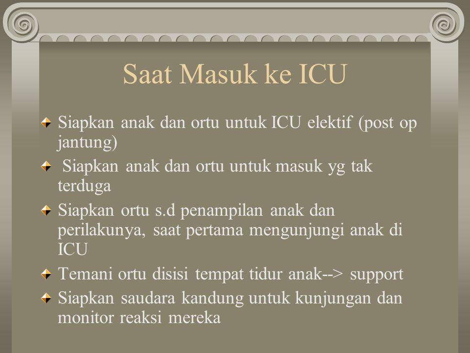 Saat Masuk ke ICU Siapkan anak dan ortu untuk ICU elektif (post op jantung) Siapkan anak dan ortu untuk masuk yg tak terduga Siapkan ortu s.d penampil