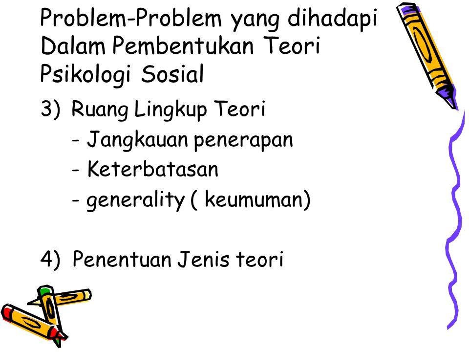Problem-Problem yang dihadapi Dalam Pembentukan Teori Psikologi Sosial 3)Ruang Lingkup Teori - Jangkauan penerapan - Keterbatasan - generality ( keumuman) 4) Penentuan Jenis teori