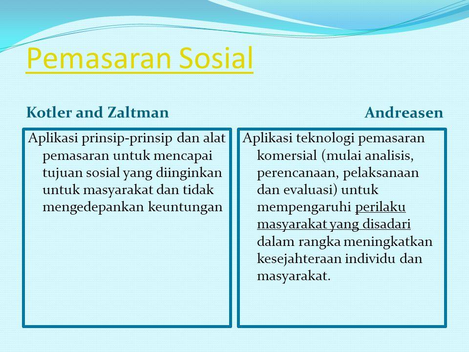 Pemasaran Sosial Kotler and Zaltman Andreasen Aplikasi prinsip-prinsip dan alat pemasaran untuk mencapai tujuan sosial yang diinginkan untuk masyaraka