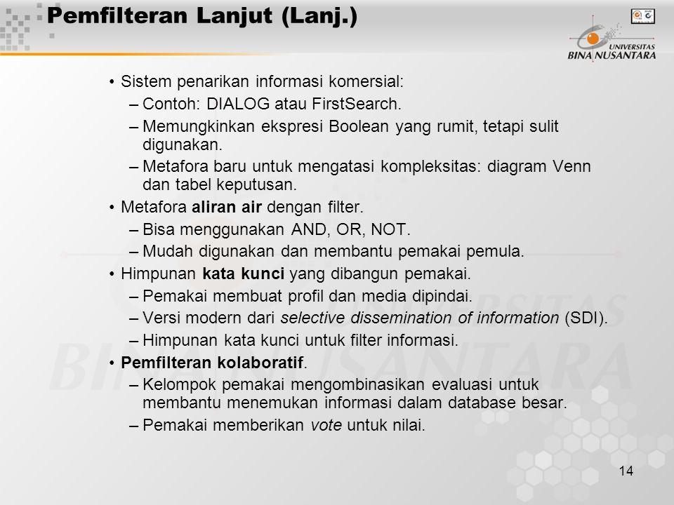 14 Pemfilteran Lanjut (Lanj.) Sistem penarikan informasi komersial: –Contoh: DIALOG atau FirstSearch.