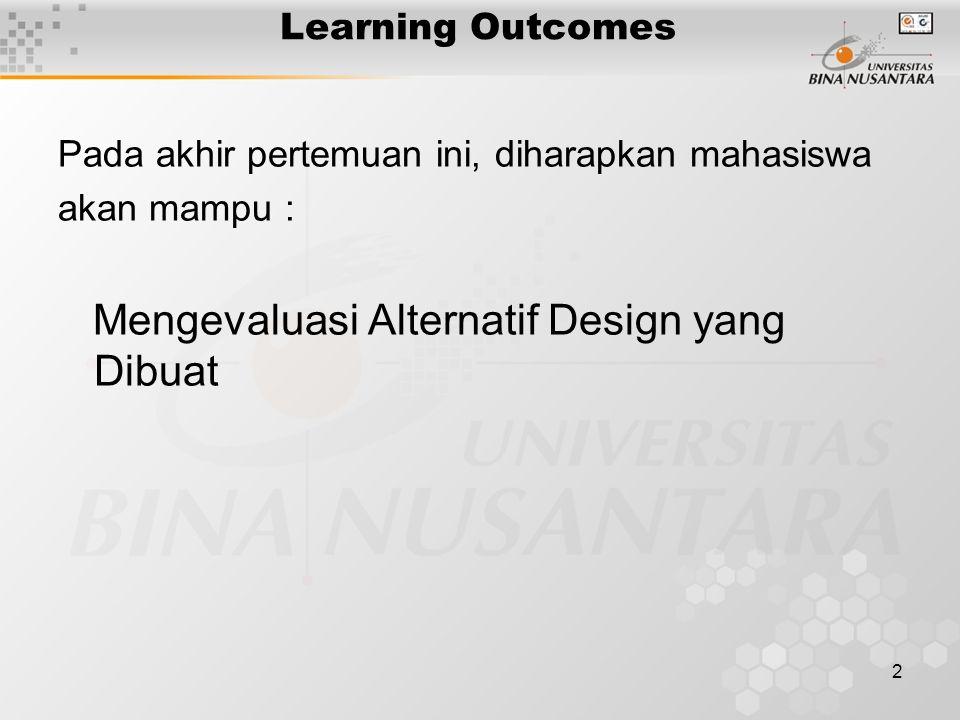 2 Learning Outcomes Pada akhir pertemuan ini, diharapkan mahasiswa akan mampu : Mengevaluasi Alternatif Design yang Dibuat