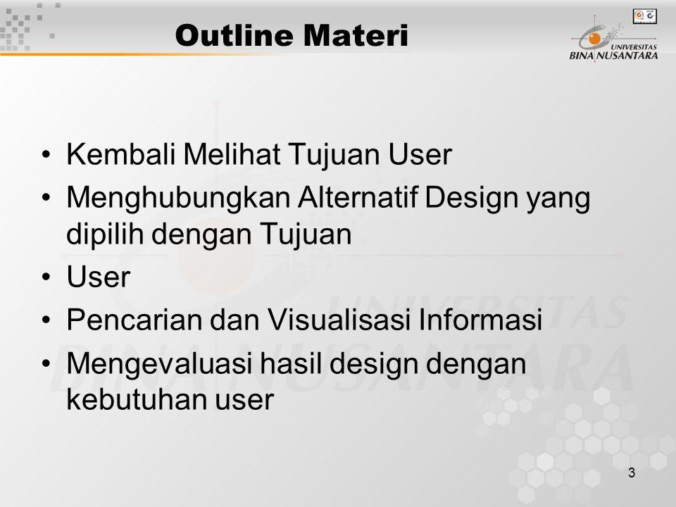 3 Outline Materi Kembali Melihat Tujuan User Menghubungkan Alternatif Design yang dipilih dengan Tujuan User Pencarian dan Visualisasi Informasi Mengevaluasi hasil design dengan kebutuhan user