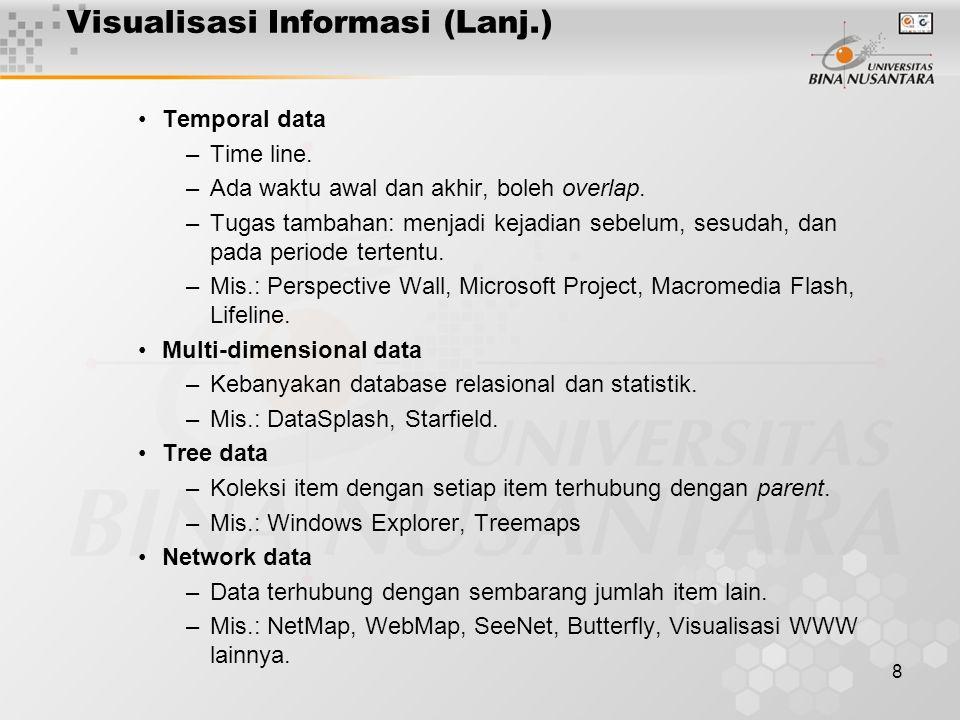 8 Visualisasi Informasi (Lanj.) Temporal data –Time line.
