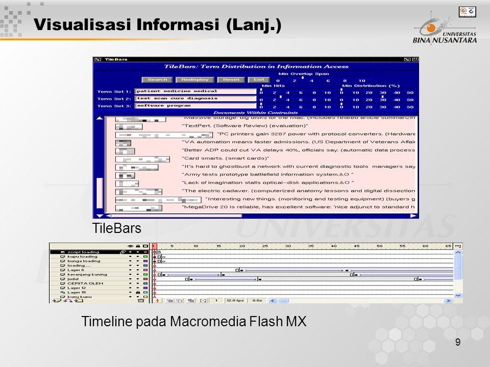 9 Visualisasi Informasi (Lanj.) TileBars Timeline pada Macromedia Flash MX