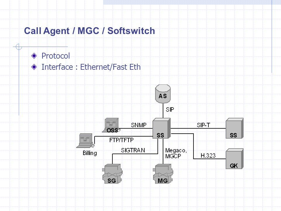 Protocol Interface : Ethernet/Fast Eth Call Agent / MGC / Softswitch
