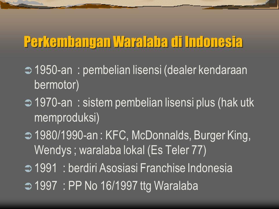 Perkembangan Waralaba di Indonesia  1950-an : pembelian lisensi (dealer kendaraan bermotor)  1970-an : sistem pembelian lisensi plus (hak utk mempro