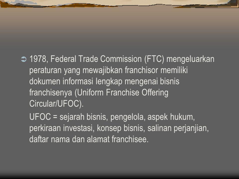 Perkembangan Waralaba di Indonesia  1950-an : pembelian lisensi (dealer kendaraan bermotor)  1970-an : sistem pembelian lisensi plus (hak utk memproduksi)  1980/1990-an : KFC, McDonnalds, Burger King, Wendys ; waralaba lokal (Es Teler 77)  1991 : berdiri Asosiasi Franchise Indonesia  1997 : PP No 16/1997 ttg Waralaba