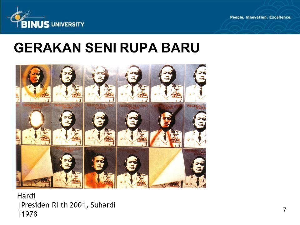 8 GERAKAN SENI RUPA BARU Terdapat kelanjutan gerakan berupa 'pemberontakan' seni lain yang muncul di Yogyakarta tahun 1977 dalam suatu pameran bertajuk 'Apa itu identitas?' Konsep acara ini adalah kritik terhadap institusi formal yang dianggap membatasi identitas seni Indonesia.
