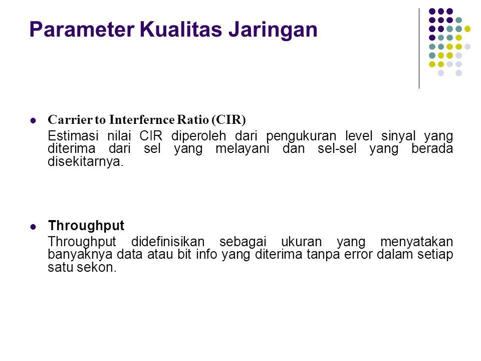 Parameter Kualitas Jaringan Carrier to Interfernce Ratio (CIR) Estimasi nilai CIR diperoleh dari pengukuran level sinyal yang diterima dari sel yang m