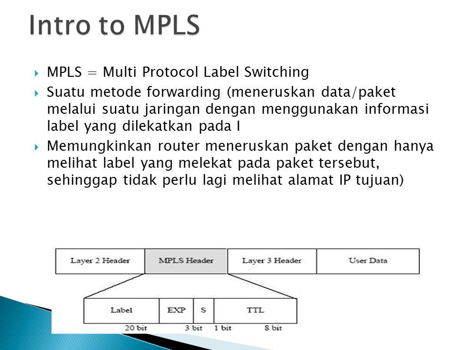  MPLS = Multi Protocol Label Switching  Suatu metode forwarding (meneruskan data/paket melalui suatu jaringan dengan menggunakan informasi label yang dilekatkan pada I  Memungkinkan router meneruskan paket dengan hanya melihat label yang melekat pada paket tersebut, sehinggap tidak perlu lagi melihat alamat IP tujuan)