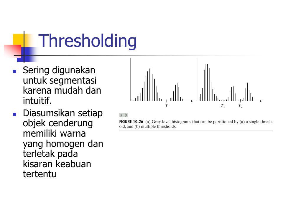 Thresholding Sering digunakan untuk segmentasi karena mudah dan intuitif. Diasumsikan setiap objek cenderung memiliki warna yang homogen dan terletak