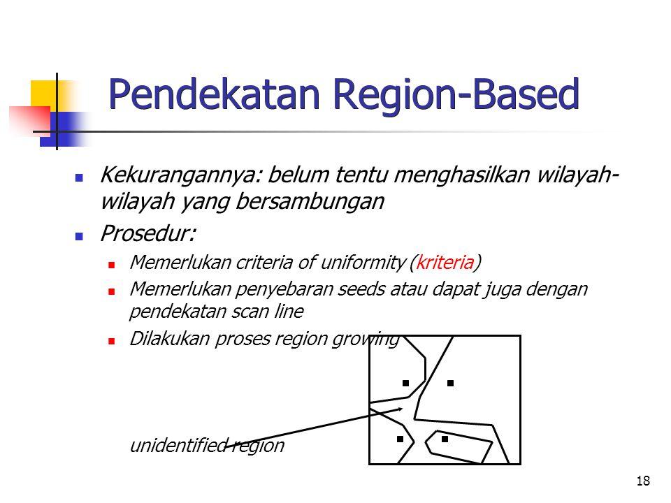 18 Pendekatan Region-Based Kekurangannya: belum tentu menghasilkan wilayah- wilayah yang bersambungan Prosedur: Memerlukan criteria of uniformity (kri