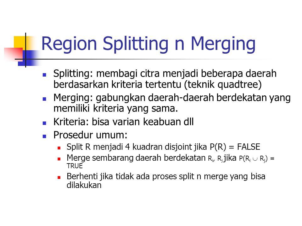 Region Splitting n Merging Splitting: membagi citra menjadi beberapa daerah berdasarkan kriteria tertentu (teknik quadtree) Merging: gabungkan daerah-
