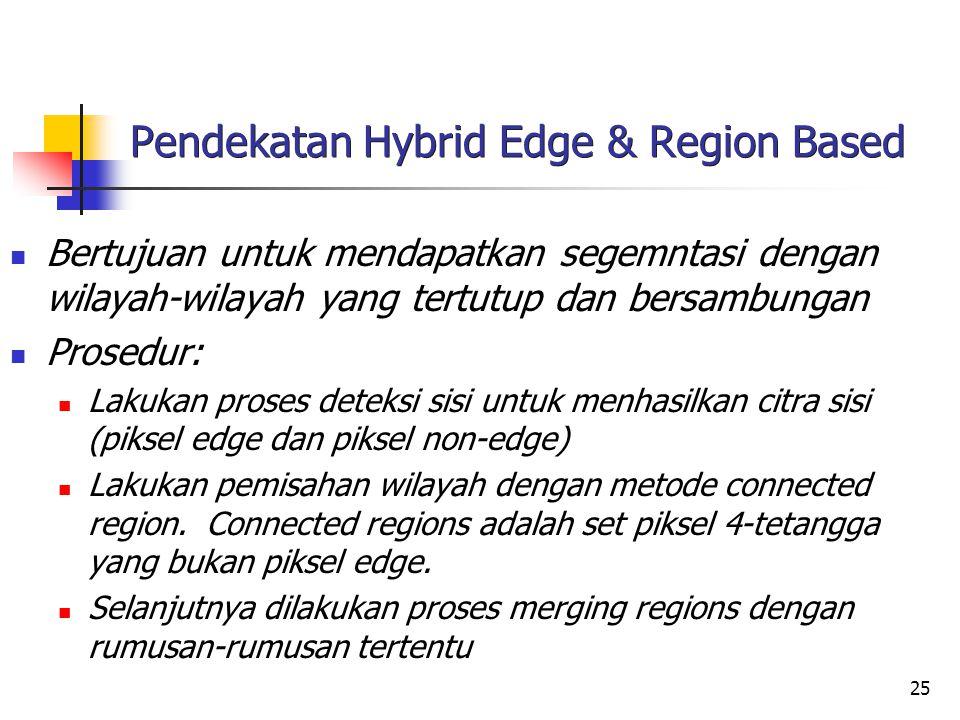 25 Pendekatan Hybrid Edge & Region Based Bertujuan untuk mendapatkan segemntasi dengan wilayah-wilayah yang tertutup dan bersambungan Prosedur: Lakuka