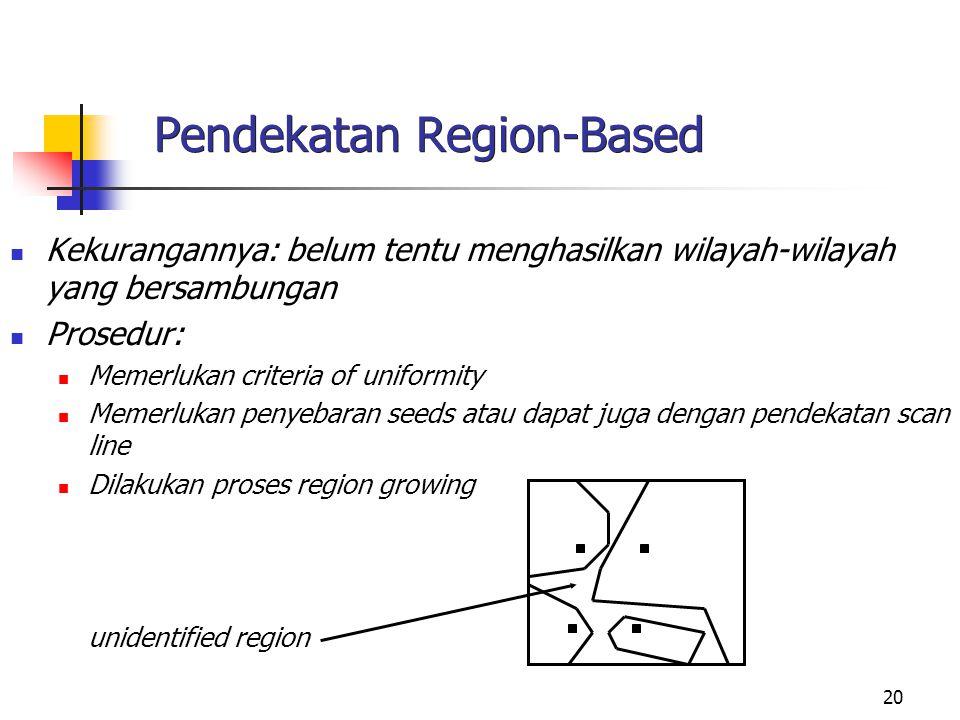 20 Pendekatan Region-Based Kekurangannya: belum tentu menghasilkan wilayah-wilayah yang bersambungan Prosedur: Memerlukan criteria of uniformity Memer