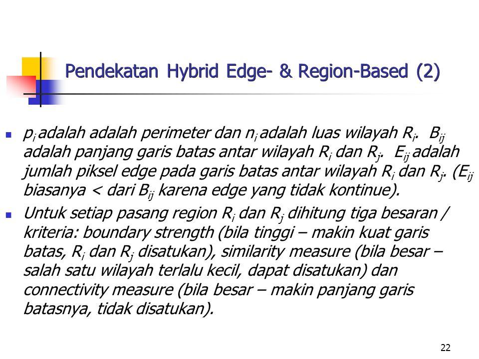 22 Pendekatan Hybrid Edge- & Region-Based (2) p i adalah adalah perimeter dan n i adalah luas wilayah R i. B ij adalah panjang garis batas antar wilay