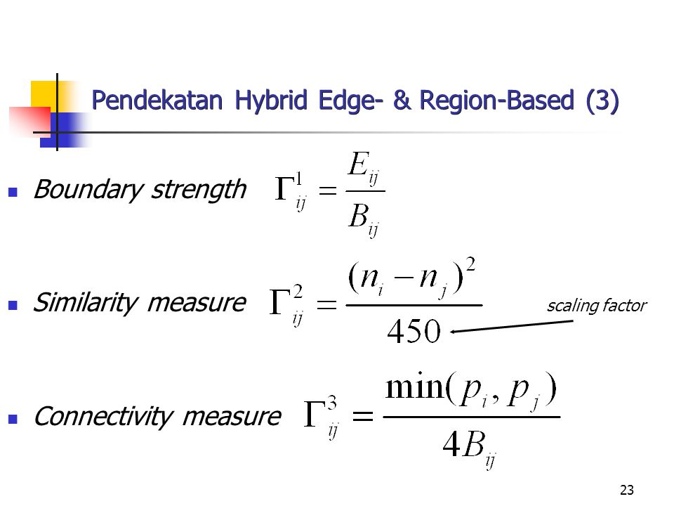 23 Pendekatan Hybrid Edge- & Region-Based (3) Boundary strength Similarity measure scaling factor Connectivity measure