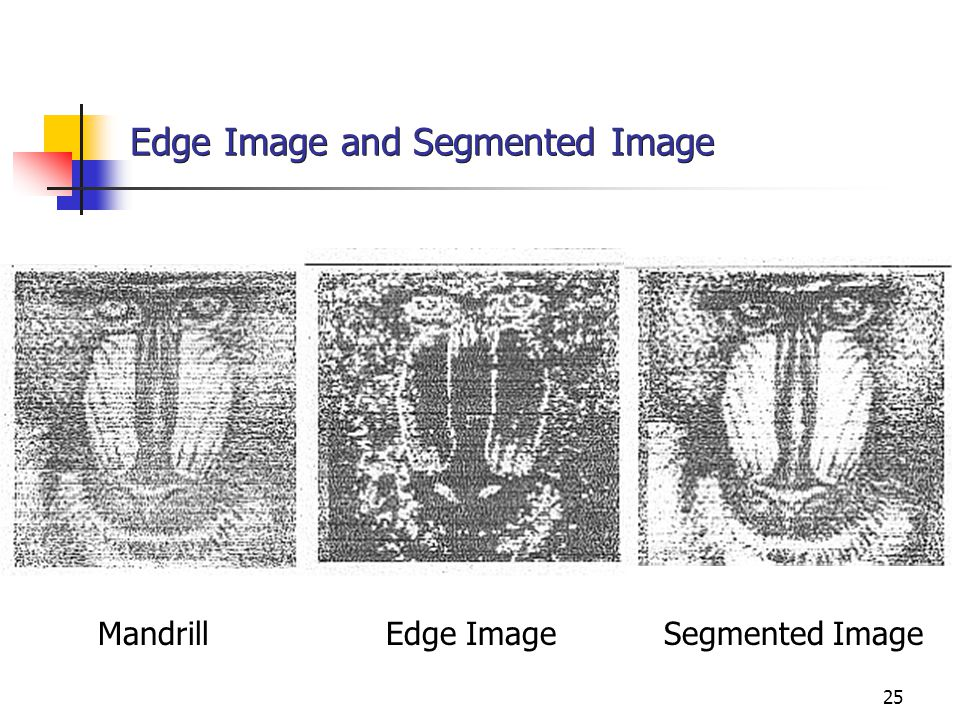 25 Edge Image and Segmented Image Mandrill Edge Image Segmented Image