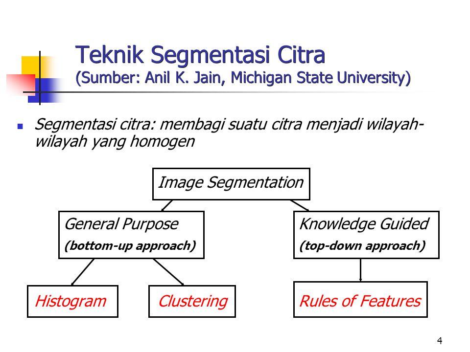 4 Teknik Segmentasi Citra (Sumber: Anil K. Jain, Michigan State University) Segmentasi citra: membagi suatu citra menjadi wilayah- wilayah yang homoge