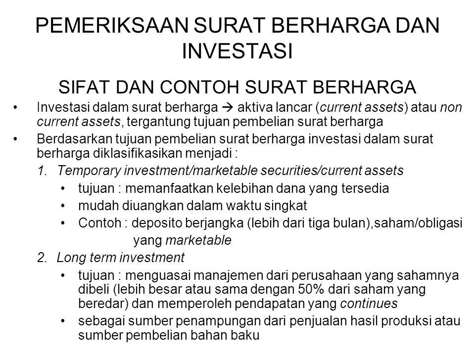 PEMERIKSAAN SURAT BERHARGA DAN INVESTASI SIFAT DAN CONTOH SURAT BERHARGA Investasi dalam surat berharga  aktiva lancar (current assets) atau non curr
