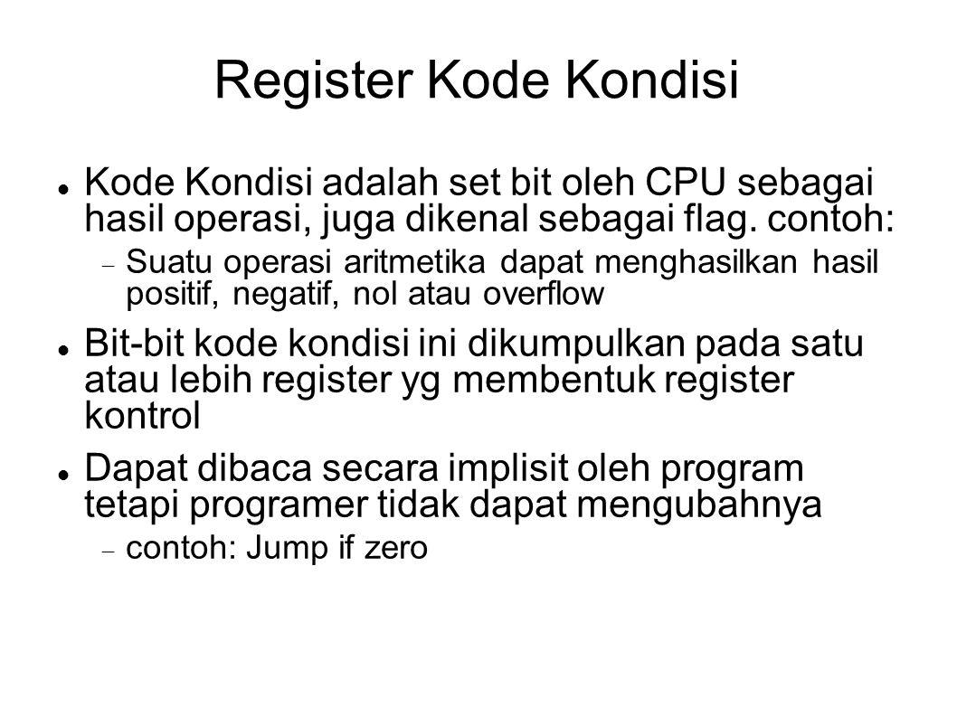 Register Kode Kondisi Kode Kondisi adalah set bit oleh CPU sebagai hasil operasi, juga dikenal sebagai flag. contoh:  Suatu operasi aritmetika dapat