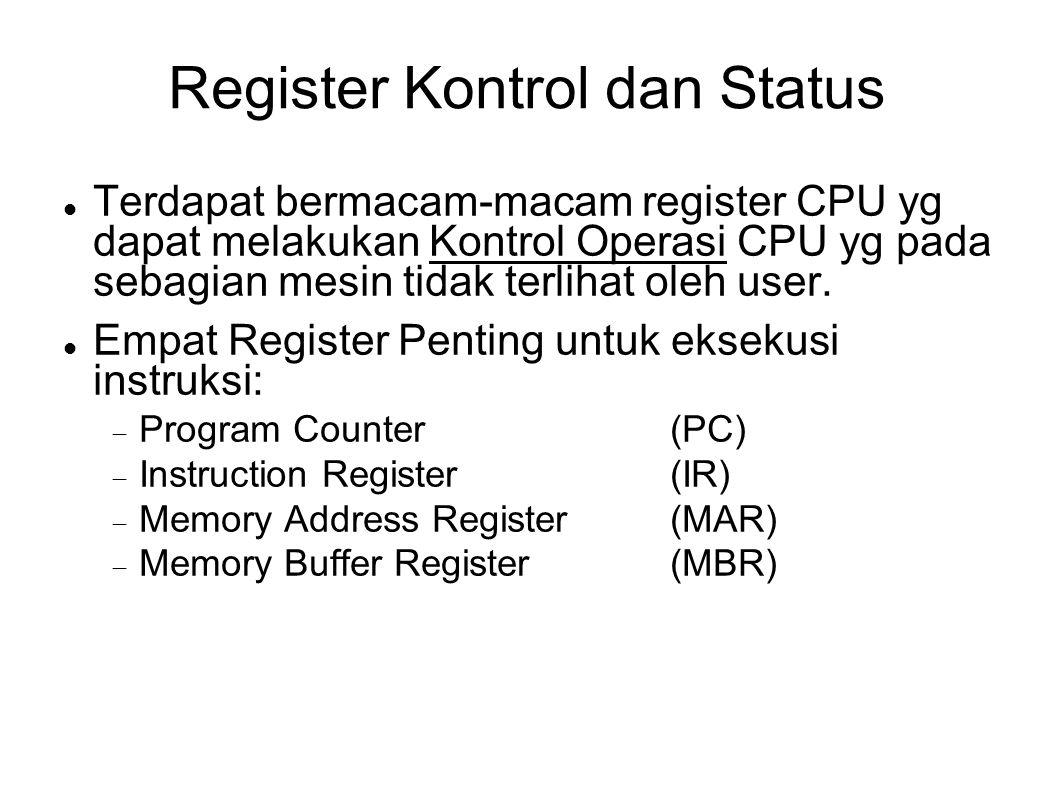 Register Kontrol dan Status Terdapat bermacam-macam register CPU yg dapat melakukan Kontrol Operasi CPU yg pada sebagian mesin tidak terlihat oleh use