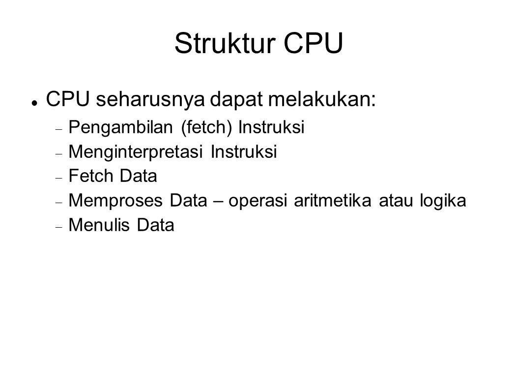 Struktur CPU CPU seharusnya dapat melakukan:  Pengambilan (fetch) Instruksi  Menginterpretasi Instruksi  Fetch Data  Memproses Data – operasi arit