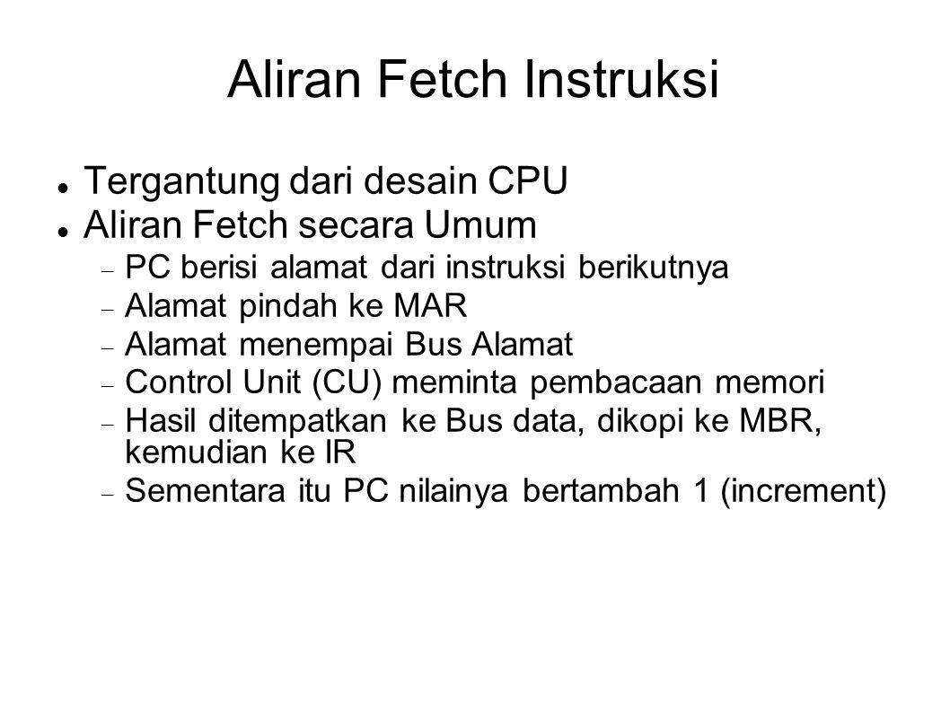 Aliran Fetch Instruksi Tergantung dari desain CPU Aliran Fetch secara Umum  PC berisi alamat dari instruksi berikutnya  Alamat pindah ke MAR  Alama