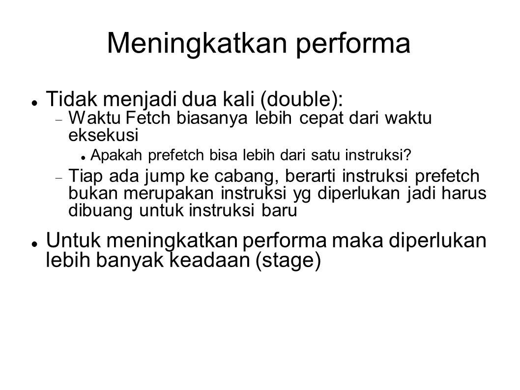 Meningkatkan performa Tidak menjadi dua kali (double):  Waktu Fetch biasanya lebih cepat dari waktu eksekusi Apakah prefetch bisa lebih dari satu ins