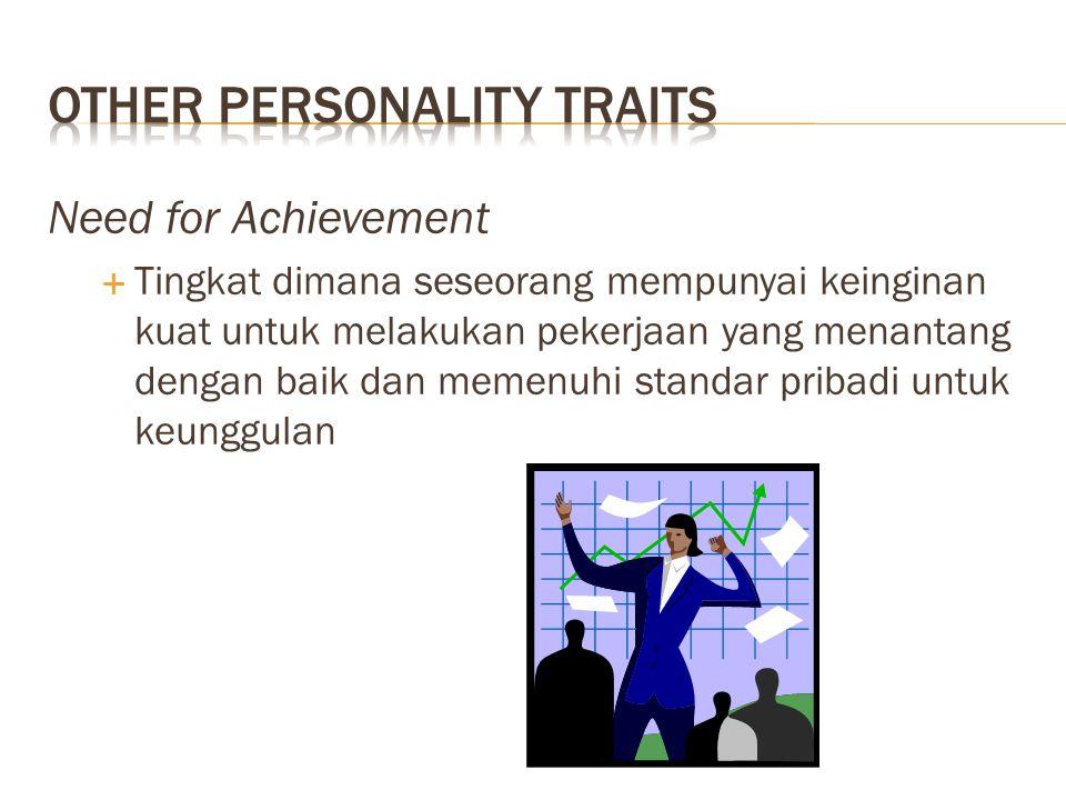 Need for Achievement  Tingkat dimana seseorang mempunyai keinginan kuat untuk melakukan pekerjaan yang menantang dengan baik dan memenuhi standar pri