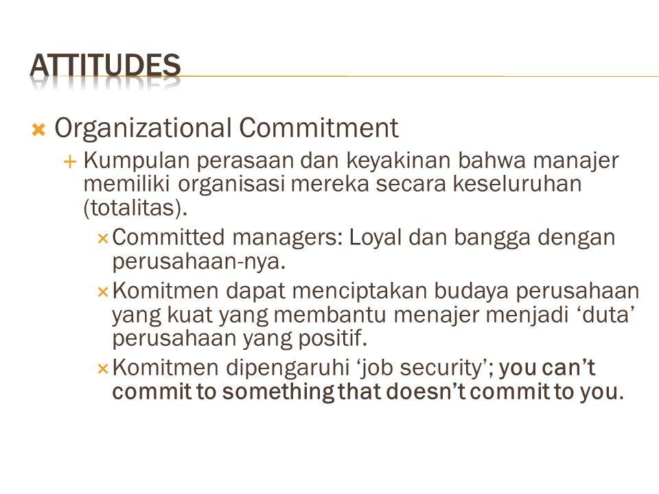  Organizational Commitment  Kumpulan perasaan dan keyakinan bahwa manajer memiliki organisasi mereka secara keseluruhan (totalitas).  Committed man