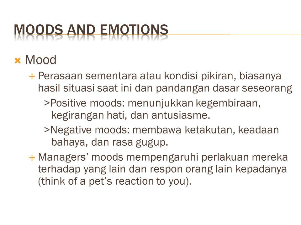  Mood  Perasaan sementara atau kondisi pikiran, biasanya hasil situasi saat ini dan pandangan dasar seseorang >Positive moods: menunjukkan kegembira