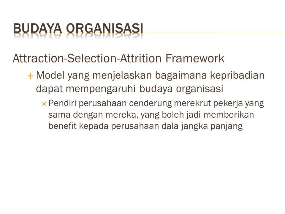 Attraction-Selection-Attrition Framework  Model yang menjelaskan bagaimana kepribadian dapat mempengaruhi budaya organisasi  Pendiri perusahaan cend