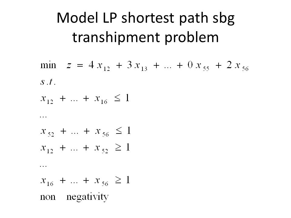 Model LP shortest path sbg transhipment problem