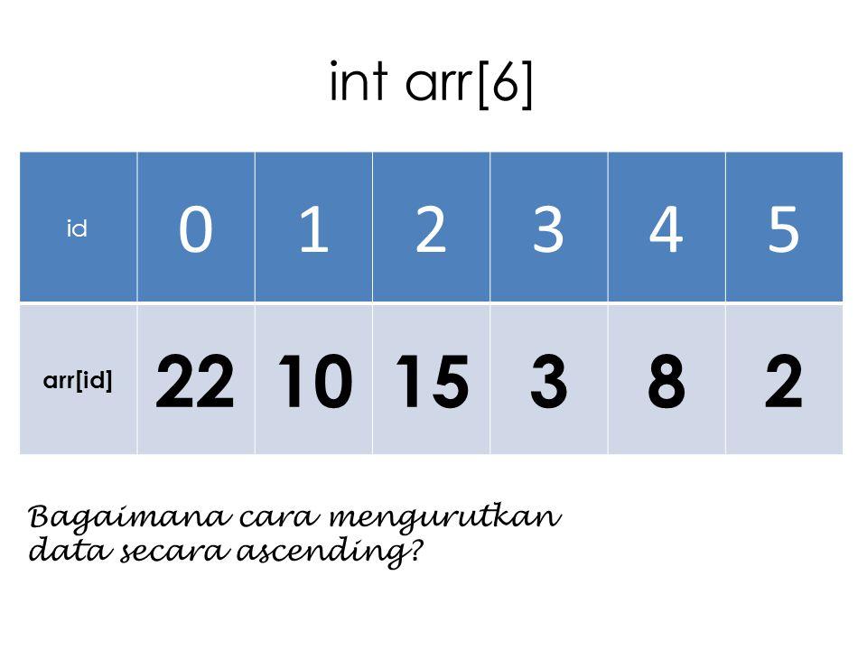 int arr[6] id 012345 arr[id] 221015382 Bagaimana cara mengurutkan data secara ascending?