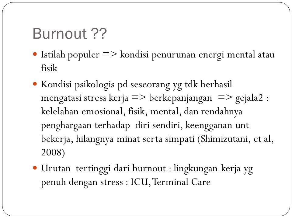 Burnout ?? Istilah populer => kondisi penurunan energi mental atau fisik Kondisi psikologis pd seseorang yg tdk berhasil mengatasi stress kerja => ber