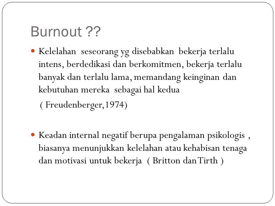 Burnout ?? Kelelahan seseorang yg disebabkan bekerja terlalu intens, berdedikasi dan berkomitmen, bekerja terlalu banyak dan terlalu lama, memandang k
