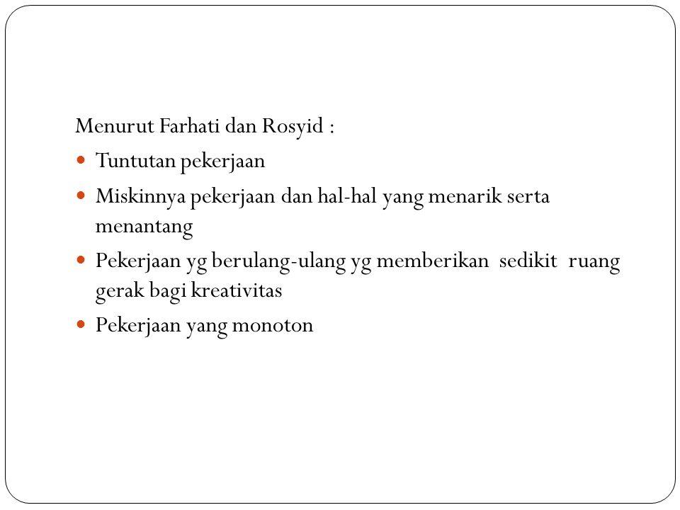 Menurut Farhati dan Rosyid : Tuntutan pekerjaan Miskinnya pekerjaan dan hal-hal yang menarik serta menantang Pekerjaan yg berulang-ulang yg memberikan