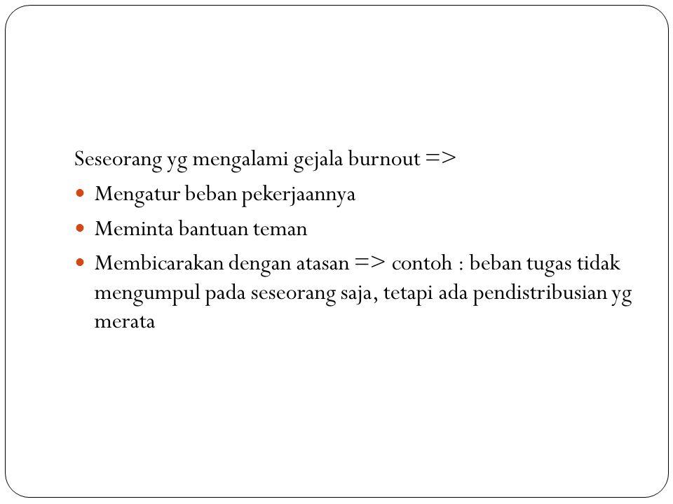 Seseorang yg mengalami gejala burnout => Mengatur beban pekerjaannya Meminta bantuan teman Membicarakan dengan atasan => contoh : beban tugas tidak me